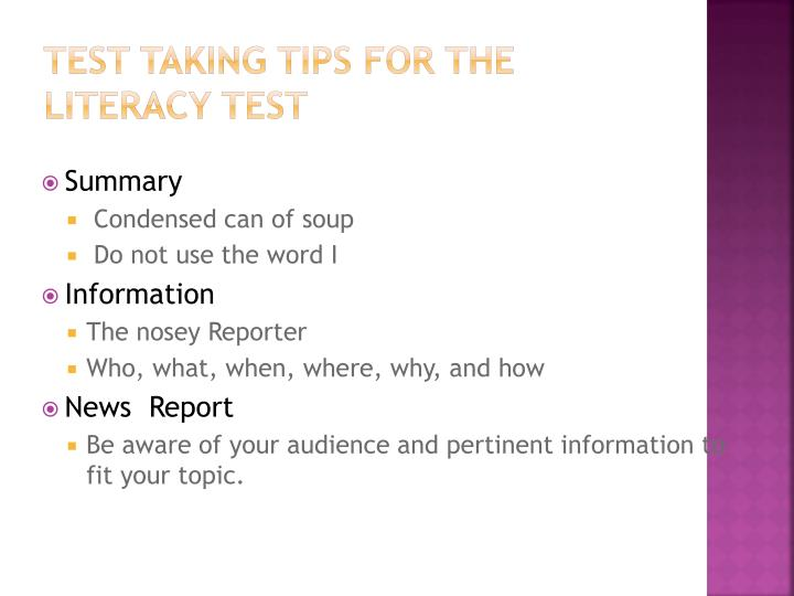 Test Taking Tips for the Literacy Test