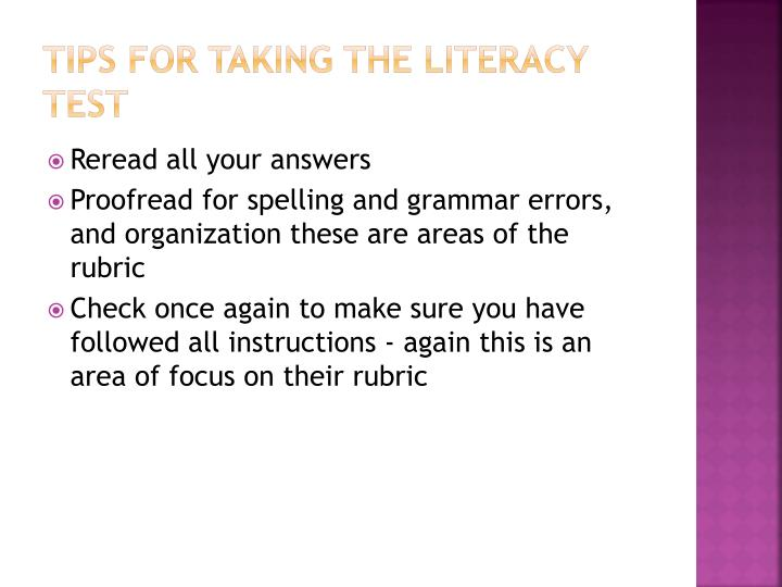 Tips for taking the Literacy test
