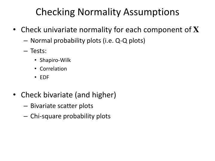 Checking Normality Assumptions