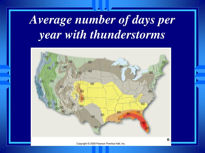 Average number of days per year with thunderstorms