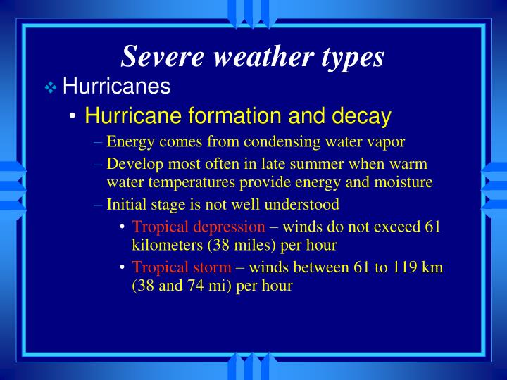 Severe weather types