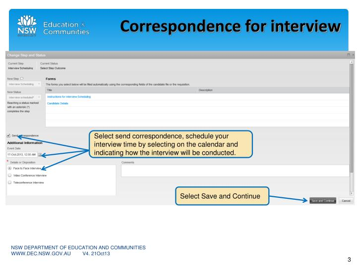 Correspondence for interview
