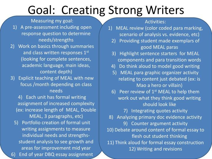 Goal creating strong writers