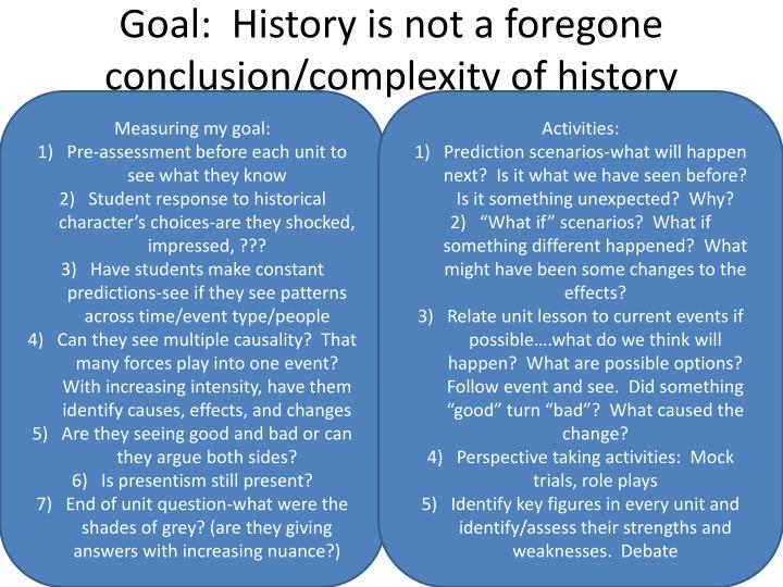 Goal:  History is not a foregone conclusion/complexity of history