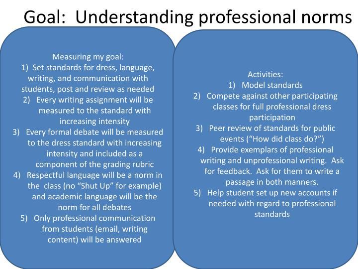 Goal:  Understanding professional norms