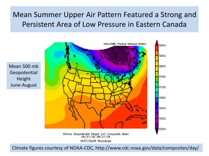 Mean Summer Upper Air Pattern Featured a Strong and Persistent Area of Low Pressure in Eastern Canada