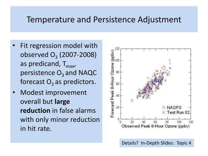 Temperature and Persistence Adjustment