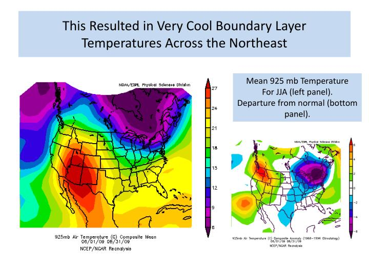 This Resulted in Very Cool Boundary Layer Temperatures Across the Northeast
