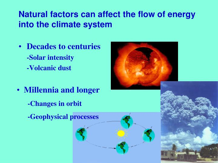 Natural factors can affect the flow of energy into the climate system