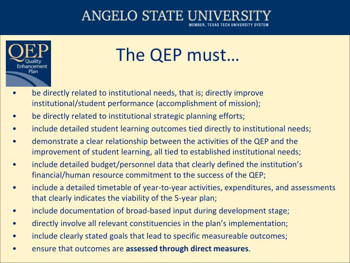 The QEP must…