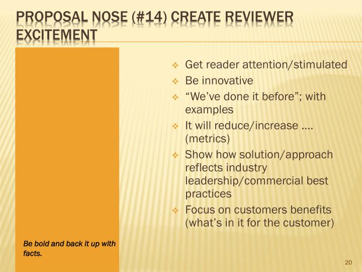 Proposal Nose (#14) Create Reviewer Excitement