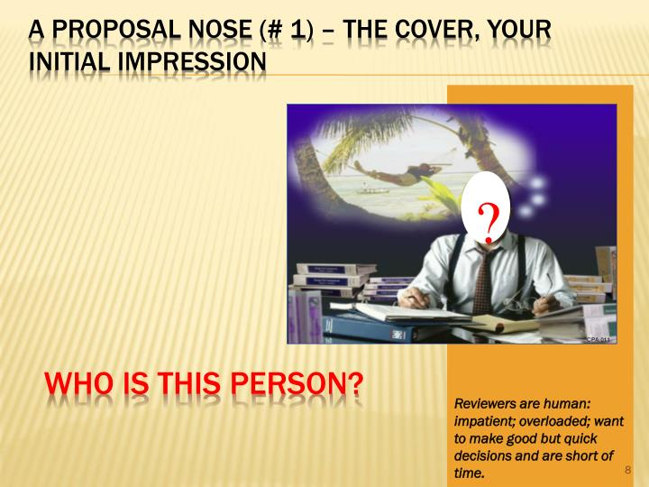 A Proposal Nose (# 1) – The Cover, Your Initial Impression
