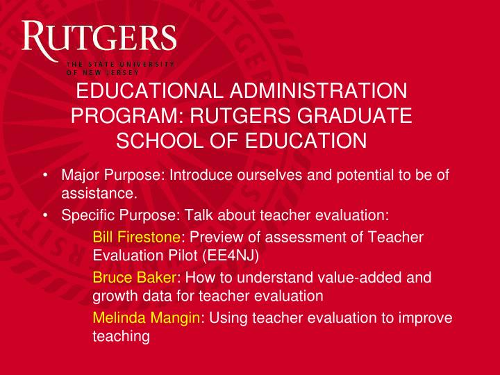 Educational administration program rutgers graduate school of education