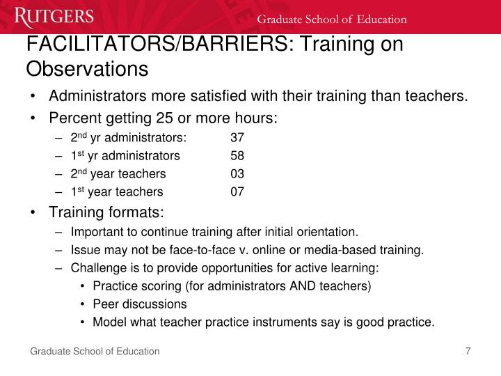 FACILITATORS/BARRIERS: Training on Observations