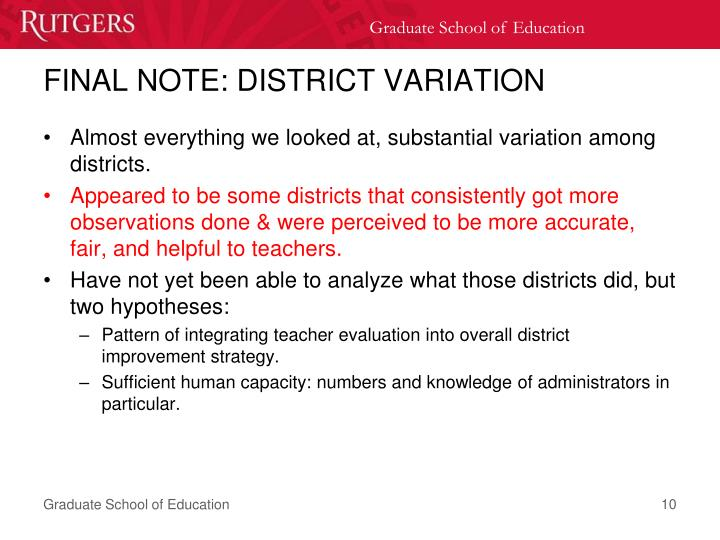 FINAL NOTE: DISTRICT VARIATION