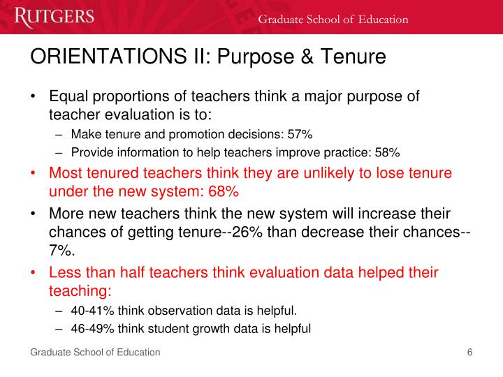 ORIENTATIONS II: Purpose & Tenure