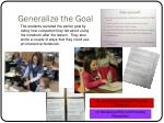 generalize the goal