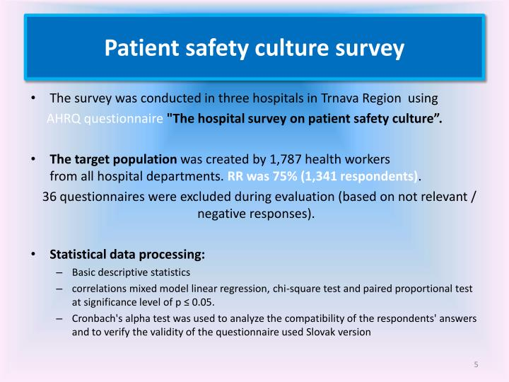 Patient safety culture survey
