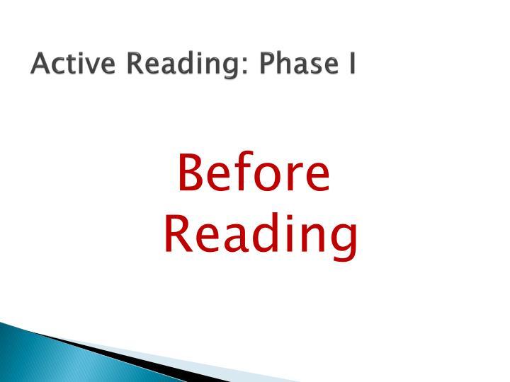 Active Reading: Phase I