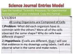 science journal entries model