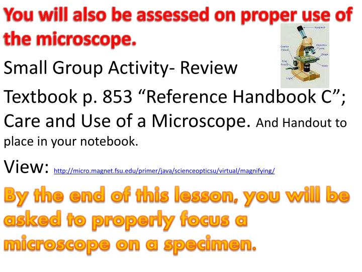 You will also be assessed on proper use of the microscope