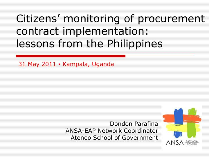 Citizens monitoring of procurement contract implementation lessons from the philippines