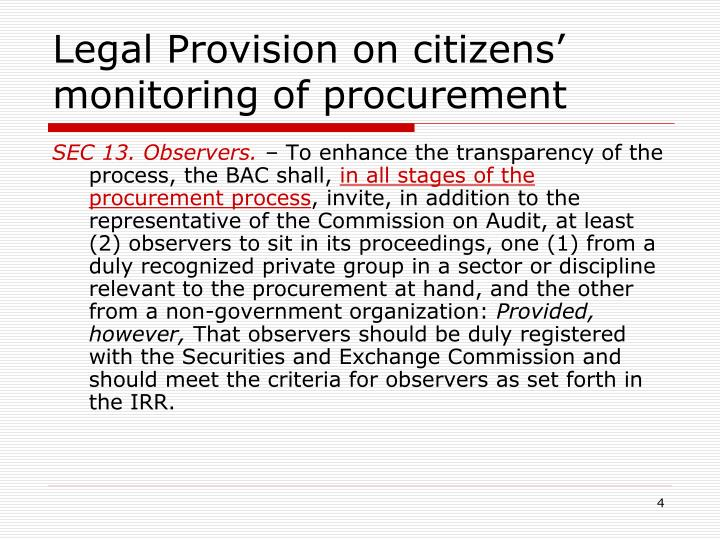 Legal Provision on citizens' monitoring of procurement