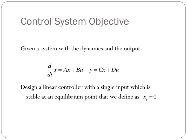 Control System Objective