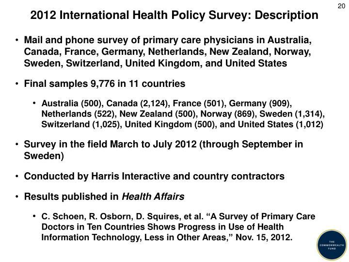 2012 International Health Policy Survey: Description