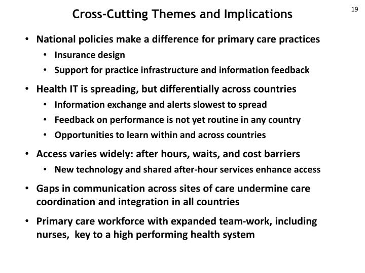 Cross-Cutting Themes and Implications