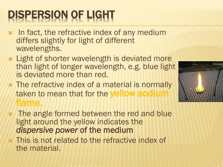 In fact, the refractive index of any medium differs slightly for light of different wavelengths