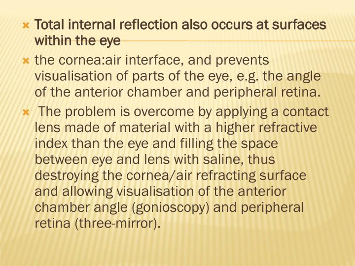 Total internal reflection also occurs at surfaces within the