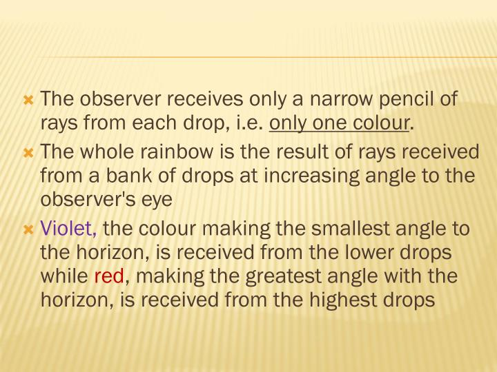 The observer receives only a narrow pencil of rays from each drop, i.e.