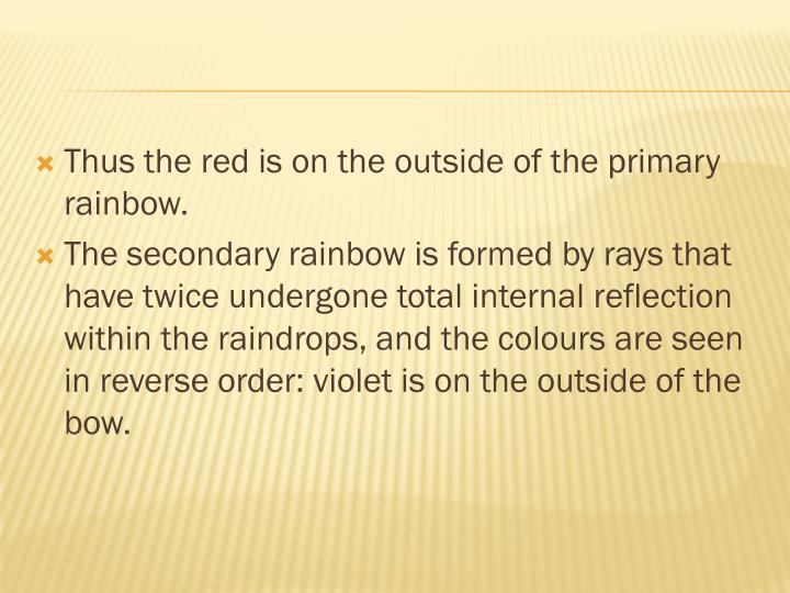 Thus the red is on the outside of the primary rainbow.