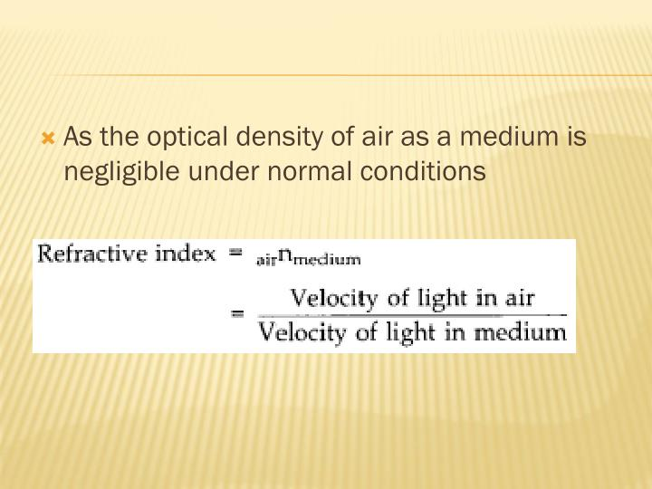 As the optical density of air as a medium is negligible under normal conditions