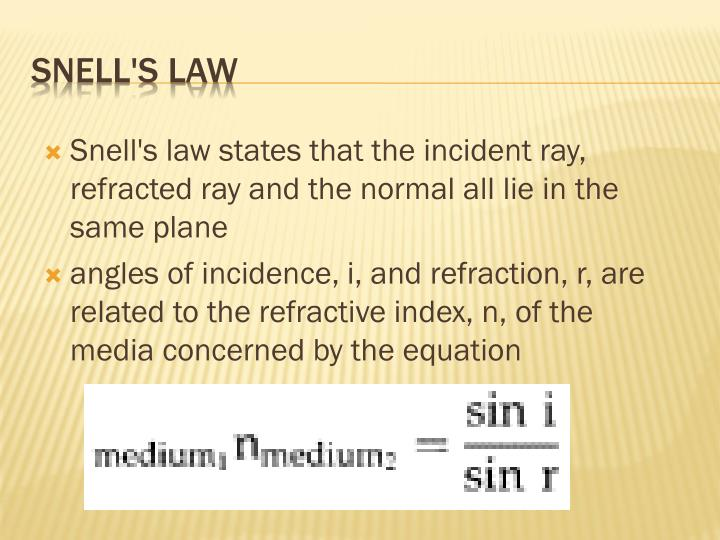 Snell's law states that the incident ray, refracted ray and the normal all lie in the same
