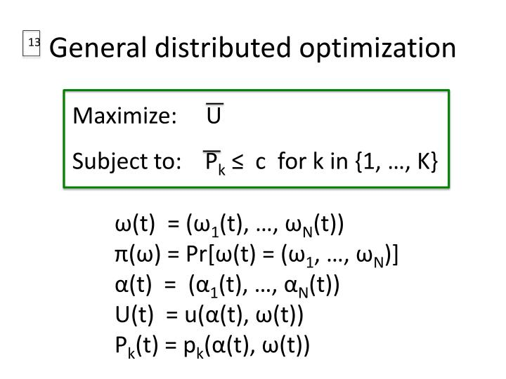 General distributed optimization