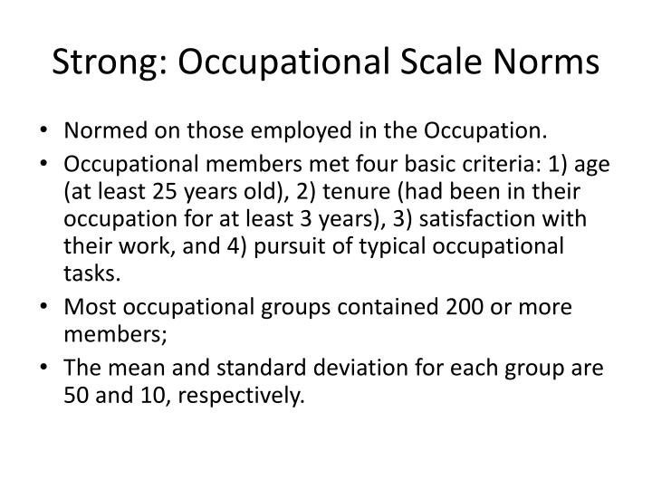 Strong: Occupational Scale Norms