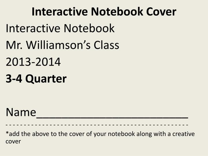 Interactive notebook cover