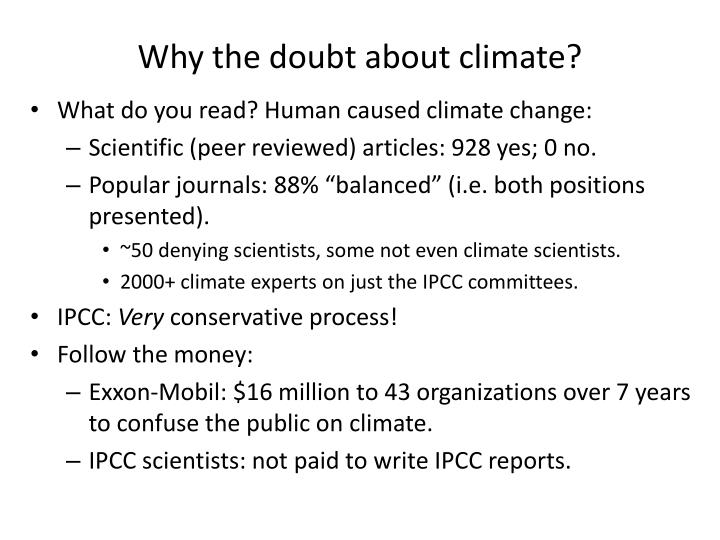 Why the doubt about climate?