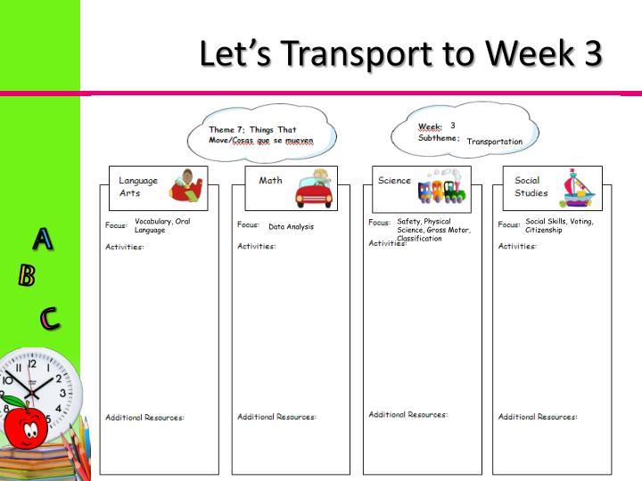 Let's Transport to Week 3