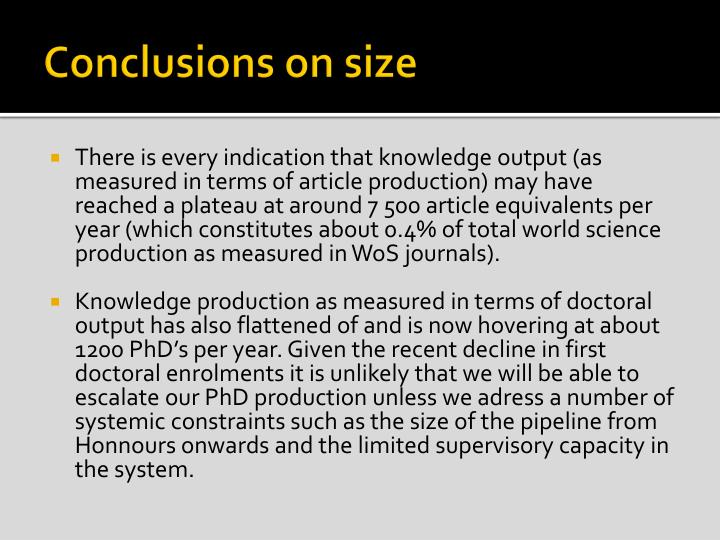Conclusions on size