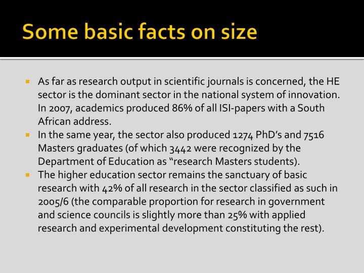 Some basic facts on size