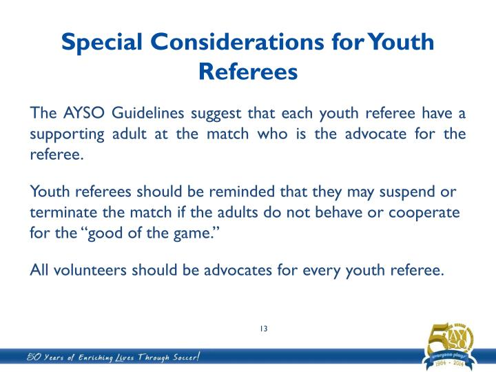 Special Considerations for Youth Referees