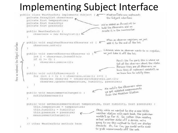 Implementing Subject Interface