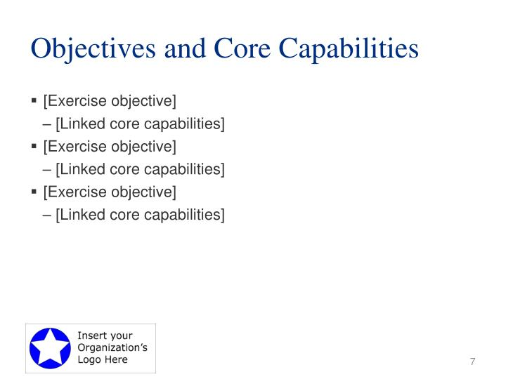 Objectives and Core Capabilities