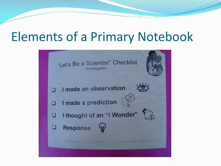 Elements of a Primary Notebook