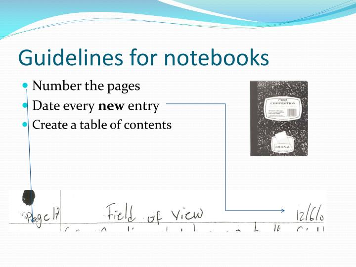 Guidelines for notebooks
