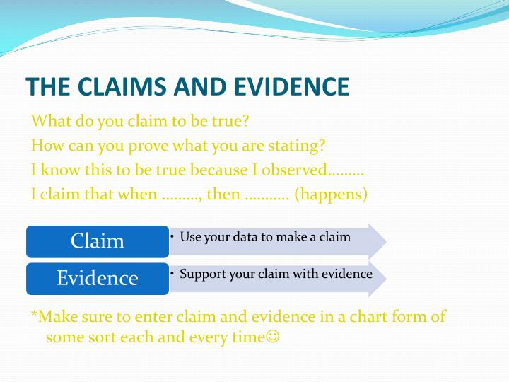 THE CLAIMS AND EVIDENCE