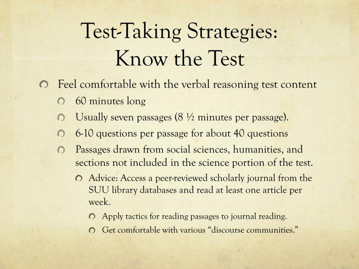 Test taking strategies know the test